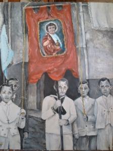 Corpus Cristi y yo de porta Guión y que pinté en acrílico.